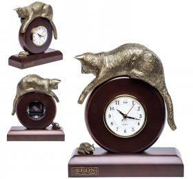 "Часы ""Кошка с мышкой"", бронзовая"