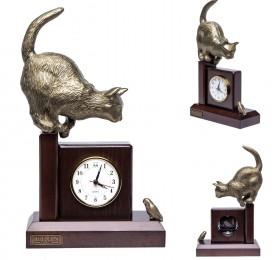 """Часы """"Кошка с птичкой"""", бронзовая"""