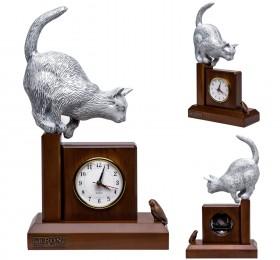 """Часы """"Кошка с птичкой"""", белая"""