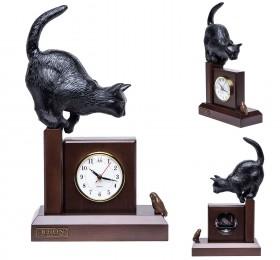 """Часы """"Кошка с птичкой"""", чёрная"""