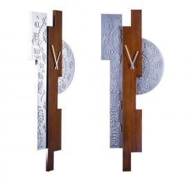 Часы настенные Арт-деко, металл-орех
